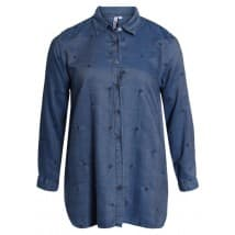 w Blouse jeans borduur tencel - Denim bleu