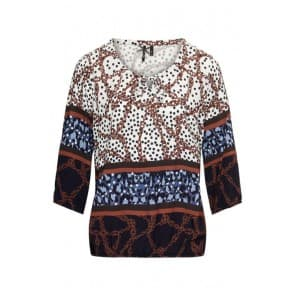 w Blouse panter ketting - Indigo mix