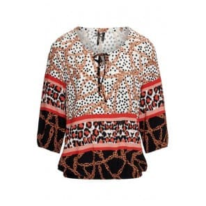w Blouse panter ketting - Lava mix