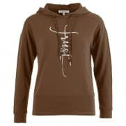 Sweater capuchon letters - Tabak