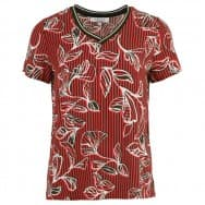 Enjoy Blouse KM boord vhals - Rood
