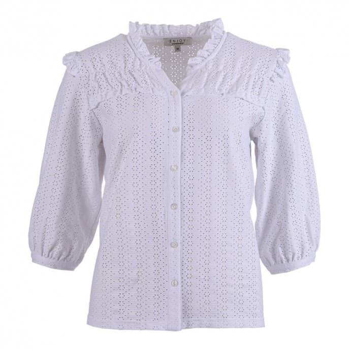 Blouse broiderie 3/4 - Wit
