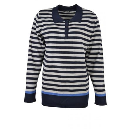 C Pullover polo streep - Donker blauw/grijs