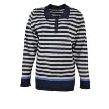 w Pullover polo streep - Donker blauw/grijs
