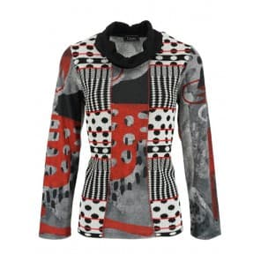 Pullover print col - Zwart wit rood