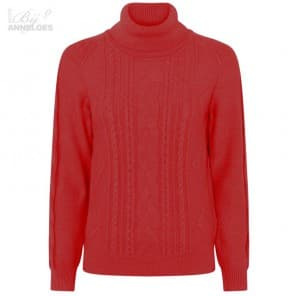 Pullover col kabelbrei - Rood