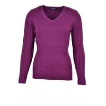 w Pullover vhals kabel - Purple