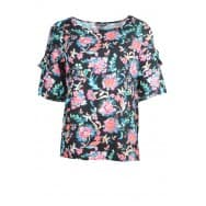 z Blouse-printed mat-mix - Zwart