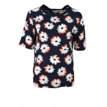 Blouse allover bloemprint - Marine wit oranje