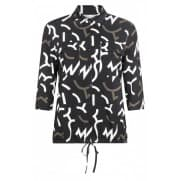 w Blouse print - Zwart-off white-army