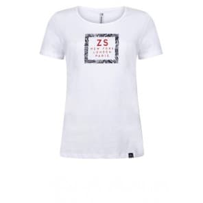z T-shirt KM frontprint - Wit navy