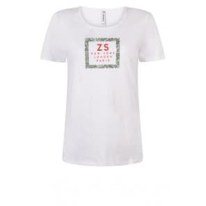 z T-shirt KM frontprint - Wit army